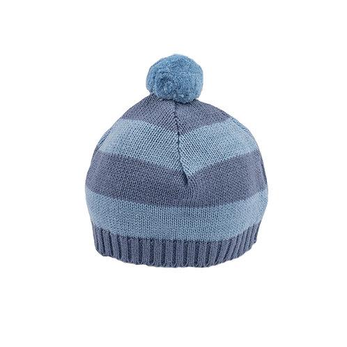 Storm Blue & Slate Stripe Baby Bobble Hat