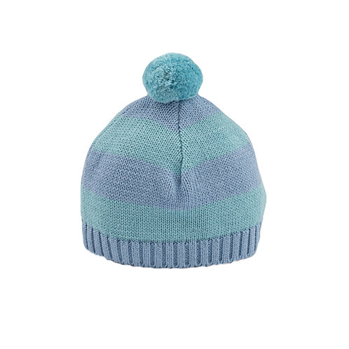 Sage Green & Slate Stripe Baby Bobble Hat