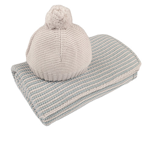 Aqua & Arctic Grey Mini Stripe Baby Blanket & Hat Set cut out