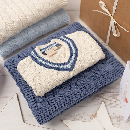 Cream Cricket Jumper & Storm Blue Cable Baby Blanket Gift Set