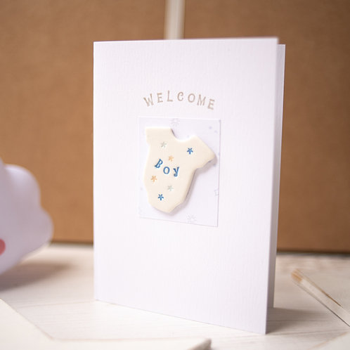 Welcome Baby Boy Handmade Ceramic Gift Card