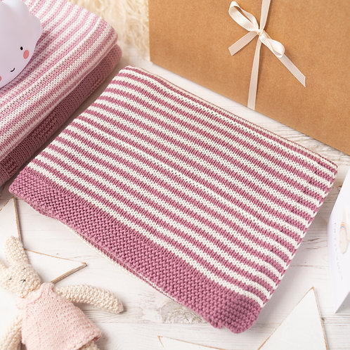Dusky Rose & Cream Dainty Stripe Baby Blanket