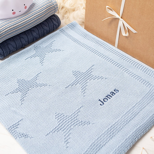 Blue Grey Little Star Personalised Baby Blanket