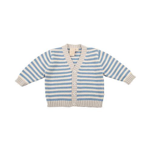 Glacier Grey, Cream & Slate Stripe Baby Cardigan
