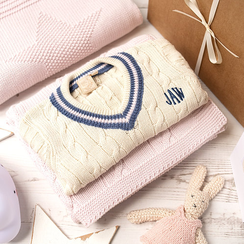 Cream Cricket Jumper with Pink and Storm Blue Stripes and Cable Baby Blanket