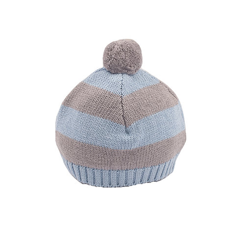 Blue Grey & Hound Stripe Baby Bobble Hat cut out