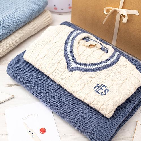 Little Cricket Star Cream & Blue Baby Gift Set
