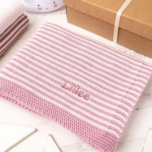 Dawn Pink and Petal Pink Dainty Stripe Personalised Baby Blanket