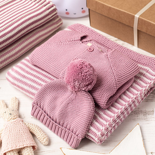 Dawn Pink And Petal Pink Dainty Stripe Knitted Baby Girl Gift Set