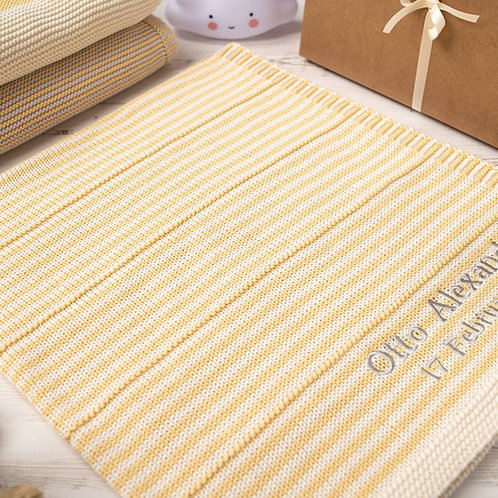 Toffee Moon Custard and Cream Dainty Stripe Personalised Baby Blanket with Pale Grey Embroidered Name