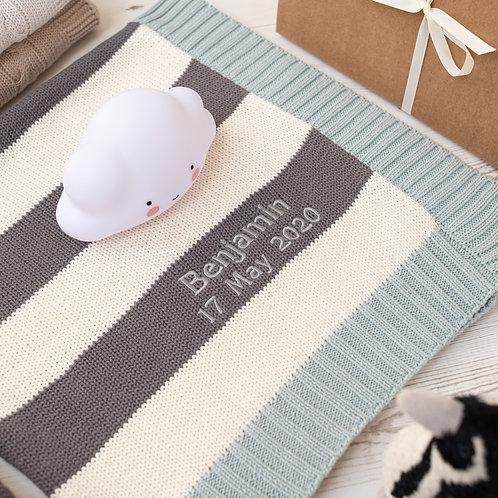 Aqua, Cream and Charcoal Stripe  Mono Personalised Baby Blanket