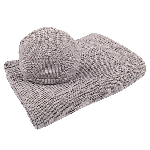 Hound Grey Star Baby Blanket & Hat Set