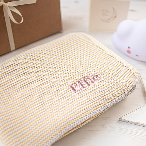 Toffee Moon Toffee Moon Custard Yellow & Arctic Grey Mini Stripe Personalised Baby Blanket with Dusky Rose Embroidered name
