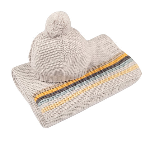 Arctic Grey Retro Stripe Baby Blanket & Hat Set  cut out