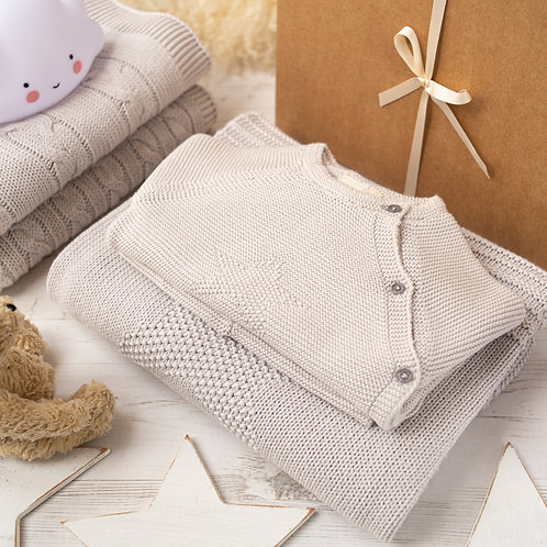 Little Star Arctic Grey Knitted Baby Gift Set