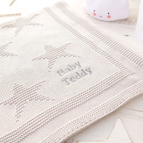 Toffee Moon Arctic Grey Little Star Personalised Baby Blanket with Pale Grey Embroidered Name