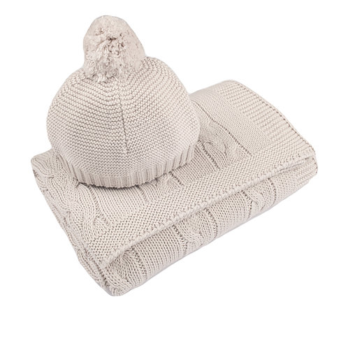 Arctic Grey Chunky Cable Baby Blanket & Hat Set cut out