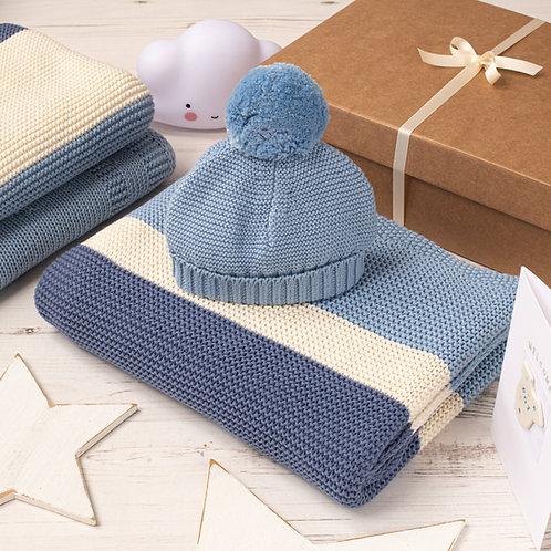 Blue Grey Candy Stripe Baby Blanket & Hat Gift Set