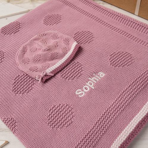 Spot & Bow Baby Blanket & Hat Set