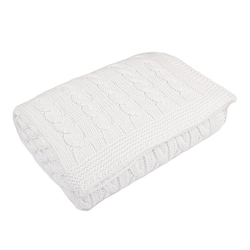 White Cable Baby Blanket