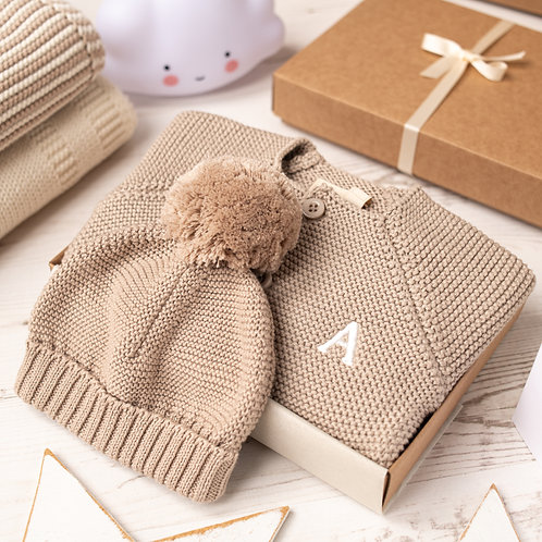 Fudge Baby Bubble Cardigan and Bobble Hat Gift Set