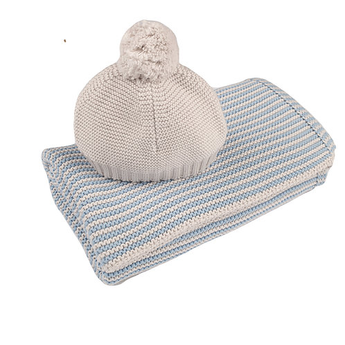 Blue Grey & Arctic Grey Mini Stripe Blanket & Hat Set