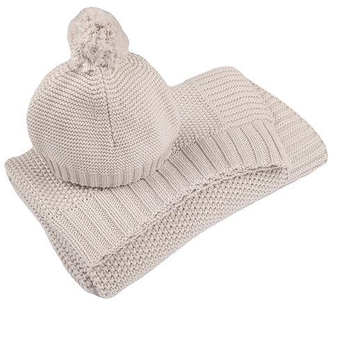 Arctic Grey Moss Baby Blanket & Hat Set