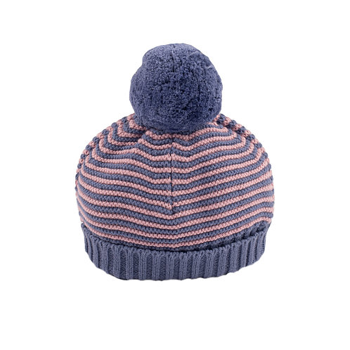 Dawn Pink & Sloeberry Stripe Big Bobble Baby Hat