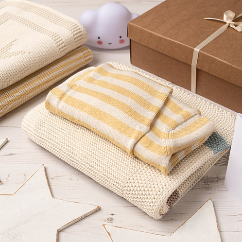 Ribbon Stripe Blanket and Hoodie Cardigan Gift Set