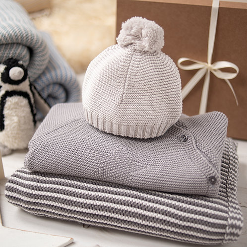 Hello Baby Charcoal & Grey Luxury Knitted Gift Box