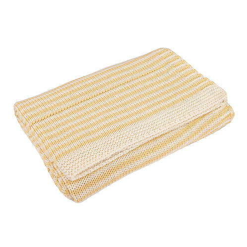Custard Yellow & Cream Dainty Stripe Baby Blanket