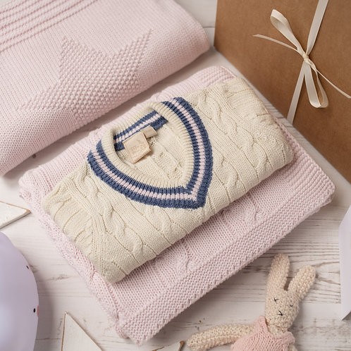 Cream Cricket Jumper with Pink Stripes & Storm Blue Cable Baby Blanket