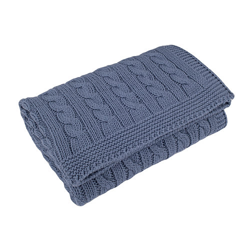 Storm Blue Cable Baby Blanket