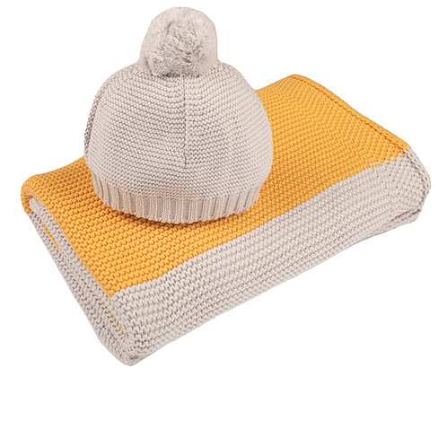 Amber & Arctic Grey Maxi Stripe Baby Blanket & Hat Set cuto out