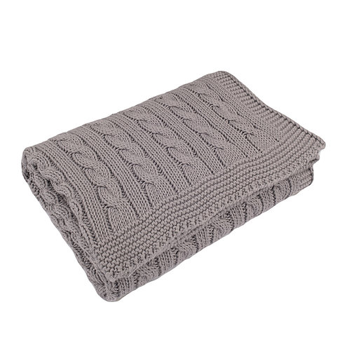 Hound Grey Cable Baby Blanket
