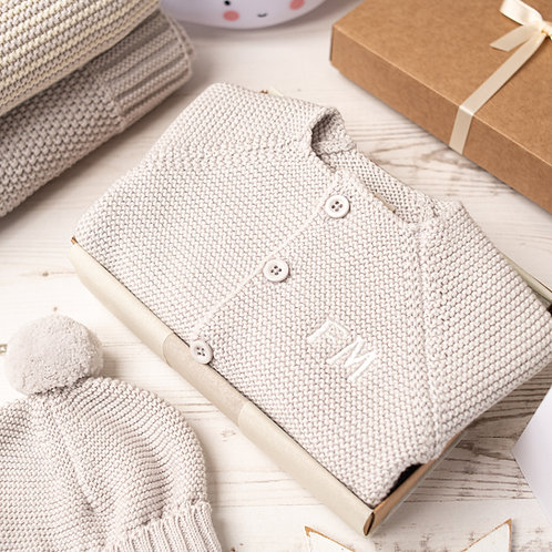 Arctic Grey Baby Bubble Cardigan & Bobble Hat Gift Set