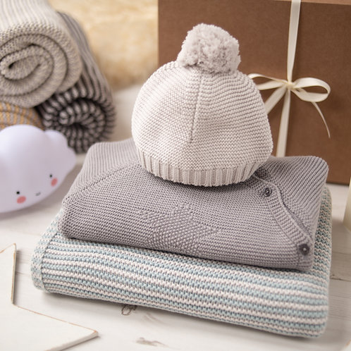 Hello Baby Aqua & Grey Luxury Knitted Gift Box