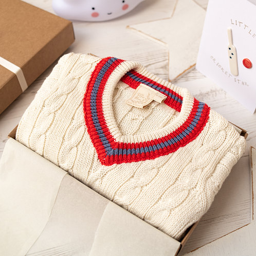 Cream Baby Cricket Jumper with Red & Blue Stripes