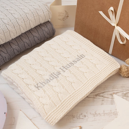 Toffee Moon Cream Cable Personalised Baby Blanket with Pale Grey Embroidered name