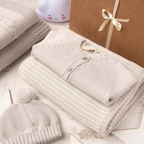 Mini Cream and Grey Stripe Blanket & Cardigan Baby Girl Gift Set