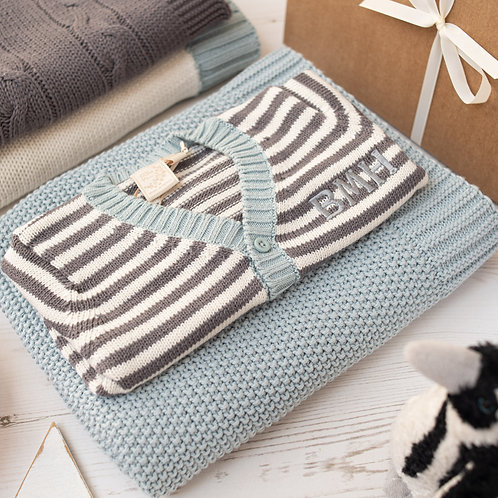 Mono Stripe Cardigan & Aqua Moss Blanket Luxury Baby Gift Set