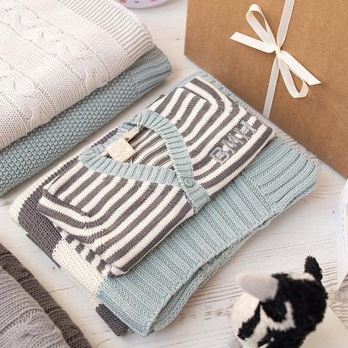 Mono Stripe Cardigan & Blanket Luxury Baby Gift Set