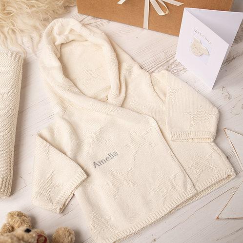 Cream Star Hooded Baby Cardigan