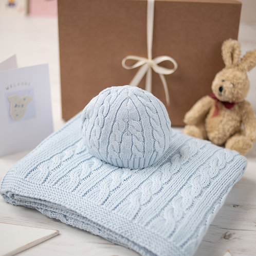 Pale Blue Cable Baby Blanket & Hat Set