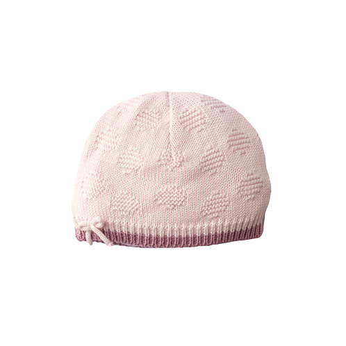 Petal Pink Spot & Bow Baby Hat