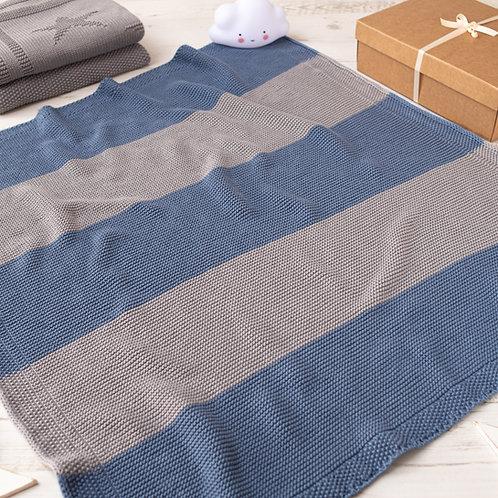 Storm Blue & Hound Grey Maxi Stripe  Baby Blanket