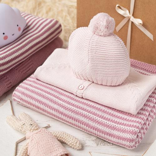 Petal Pink Sparkle Cardigan & Stripy Blanket Baby Girl Gift Set