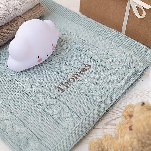 Toffee Moon Aqua Chunky Cable Personalised Baby Blanket with Dark Grey Embroidered name