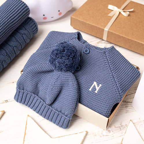 Storm Blue Baby Bubble Cardigan and Bobble Hat Gift Set