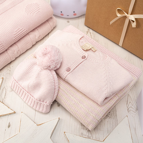 Petal Pink And Cream Dainty Stripe Knitted Baby Gift Set